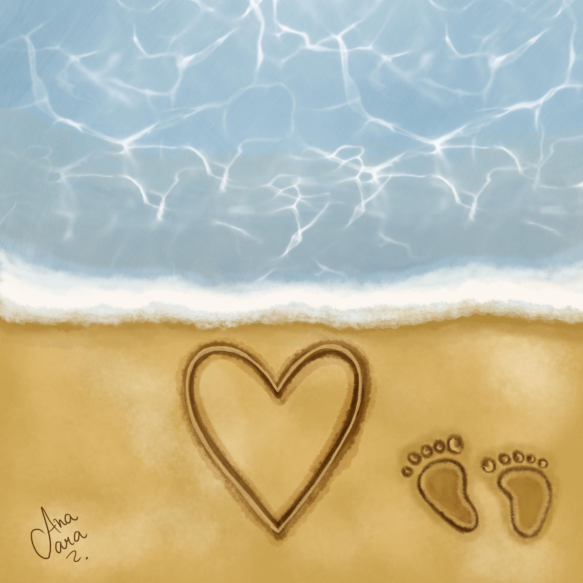 Ilustração: praia com um desenho de coração e pegadas na areia