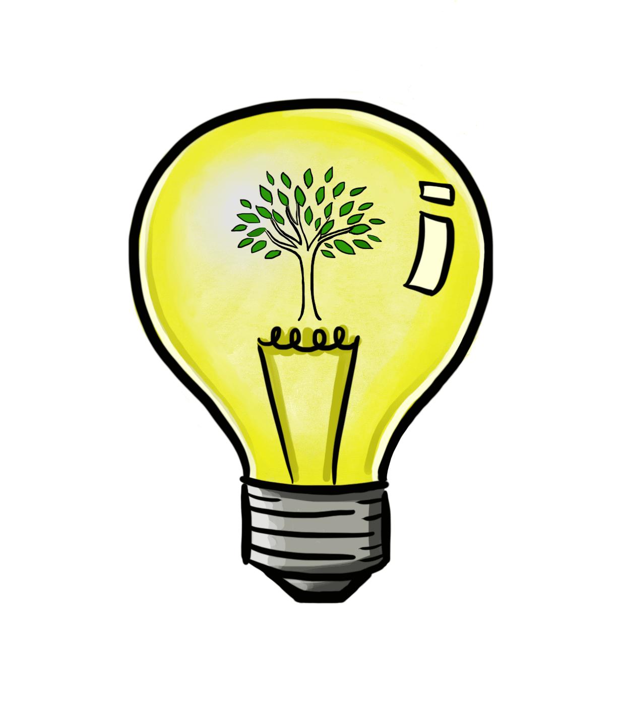 Ilustração, lâmpada e árvore