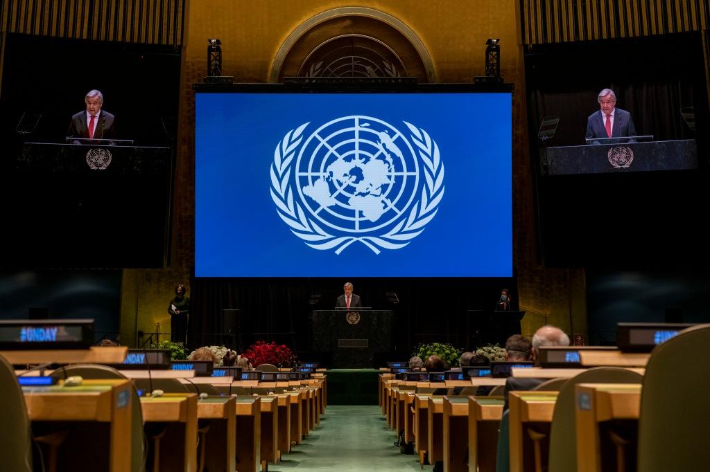 Secretário-Geral das Nações Unidas, António Guterres, faz discurso durante exibição do Concerto do Dia das Nações Unidas (UN day Concert), em 22 de outubro de 2020. Crédito: UN Photo/Mark Garten